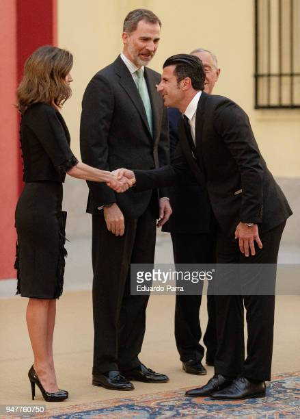 King Felipe VI of Spain soccer player Luis Figo and Queen Letizia of Spain attend a reception for President of Portugal on April 17 2018 in Madrid...