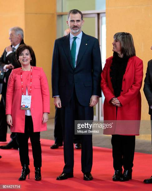 King Felipe VI of Spain Soraya Saenz de Santamaria and Hospitalet's Major Nuria Marin attend the opening of the Mobile World Congress is held in...