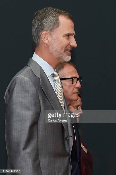 King Felipe VI of Spain Spanish culture minister Jose Guirao and Amelia Valcarcel inaugurate 'Velazquez Rembrandt Vermeer Miradas Afines' exhibition...