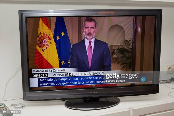 King Felipe VI of Spain speak to the Nation on March 18, 2020 in Madrid, Spain. King Felipe VI of Spain speaks to the Nation due to Covid-19 crisis.