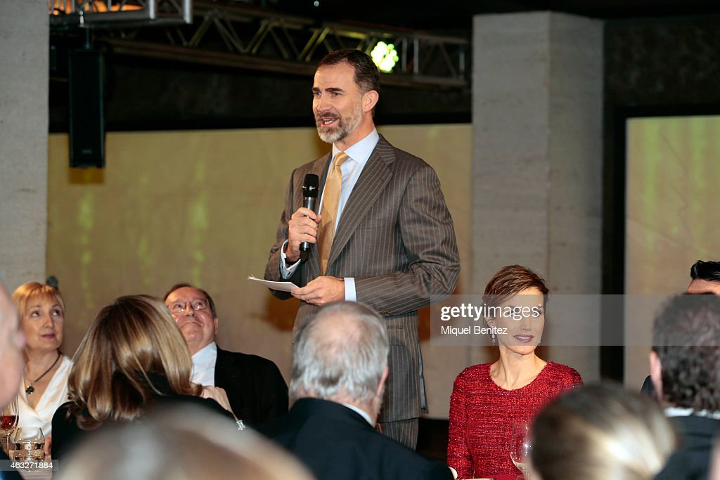King Felipe VI of Spain speaks during his visit to Freixenet Cellars as a part of the company's centenary celebration on February 12, 2015 in Sant Sadurni d'Anoia, Spain.