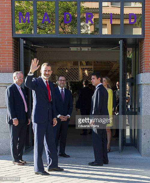 King Felipe VI of Spain US Ambassador James Costos and Minister of Industry Jose Manuel Soria attend IN3 forum at Google campus on June 18 2015 in...