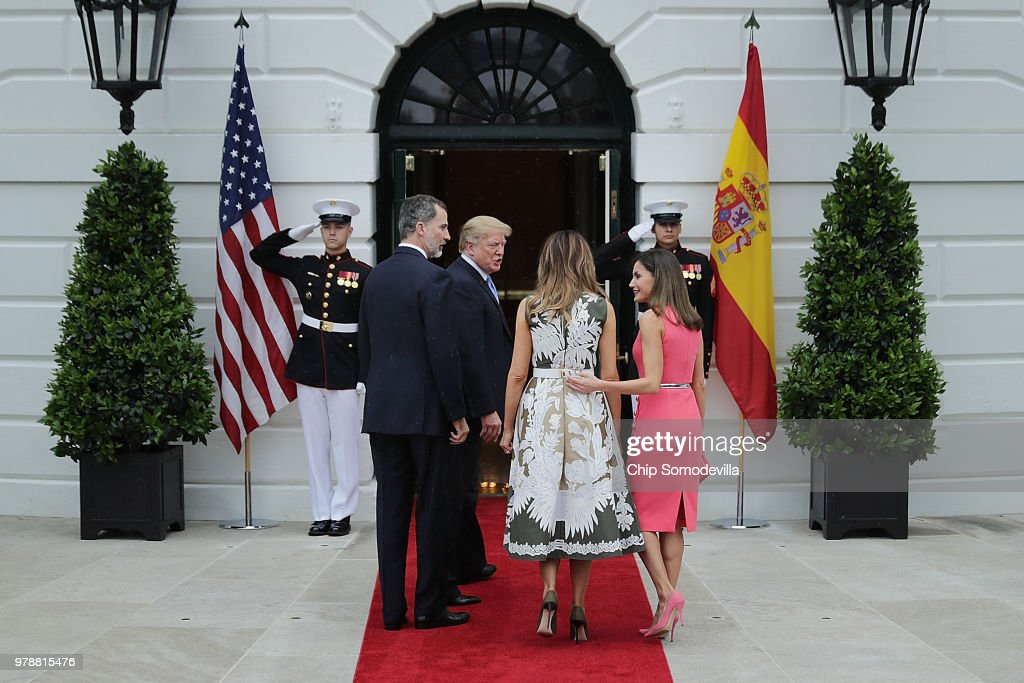 President Trump Hosts Spain's King Felipe And Queen Letizia At The White House : News Photo