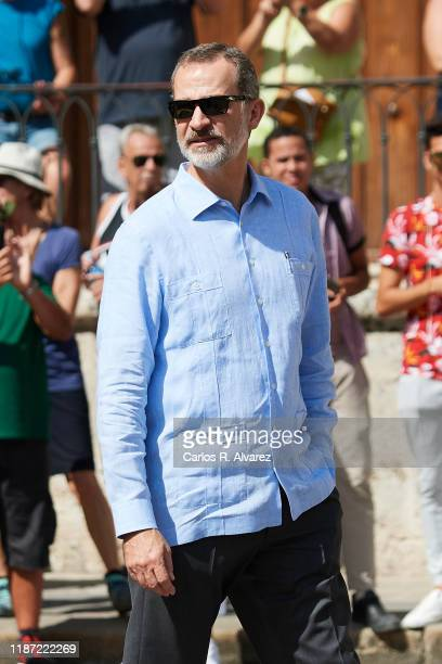 King Felipe VI of Spain visits La Havana Vieja on November 12, 2019 in La Havana, Cuba. King Felipe VI of Spain and Queen Letizia of Spain are...