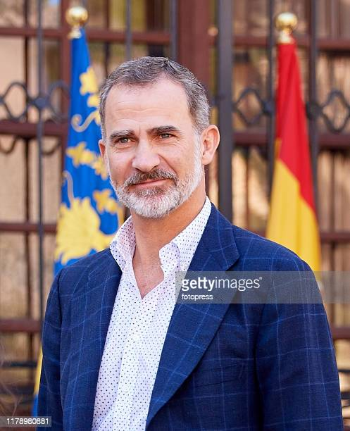 King Felipe VI of Spain visits Orihuela after the floods on October 04, 2019 in Orihuela, Spain.