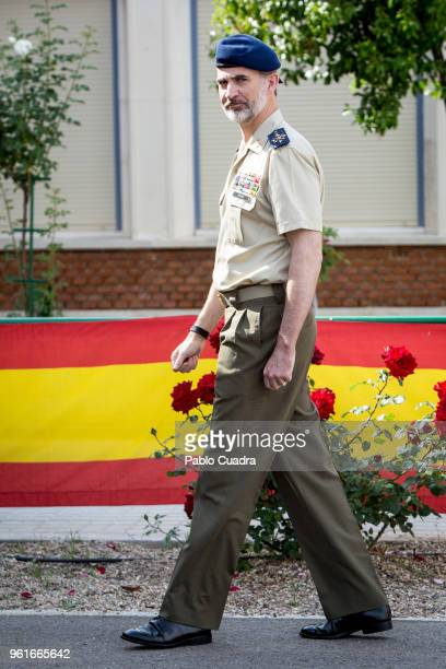 King Felipe VI of Spain visits students of the Spanish Civil Guard Corps and the French National Gendarmerie at the 'Duque de Ahumada' Young Guards...