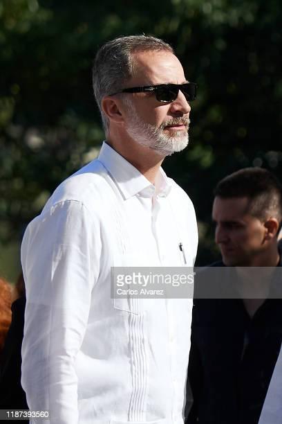 King Felipe VI of Spain visits Templete, Plaza de Armas and Palacio de los Capitanes Generales on November 13, 2019 in La Havana, Cuba. King Felipe...