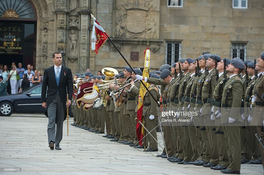 Spanish Royals Visit Santiago de Compostela on the Anniversary of the Train Accident : News Photo