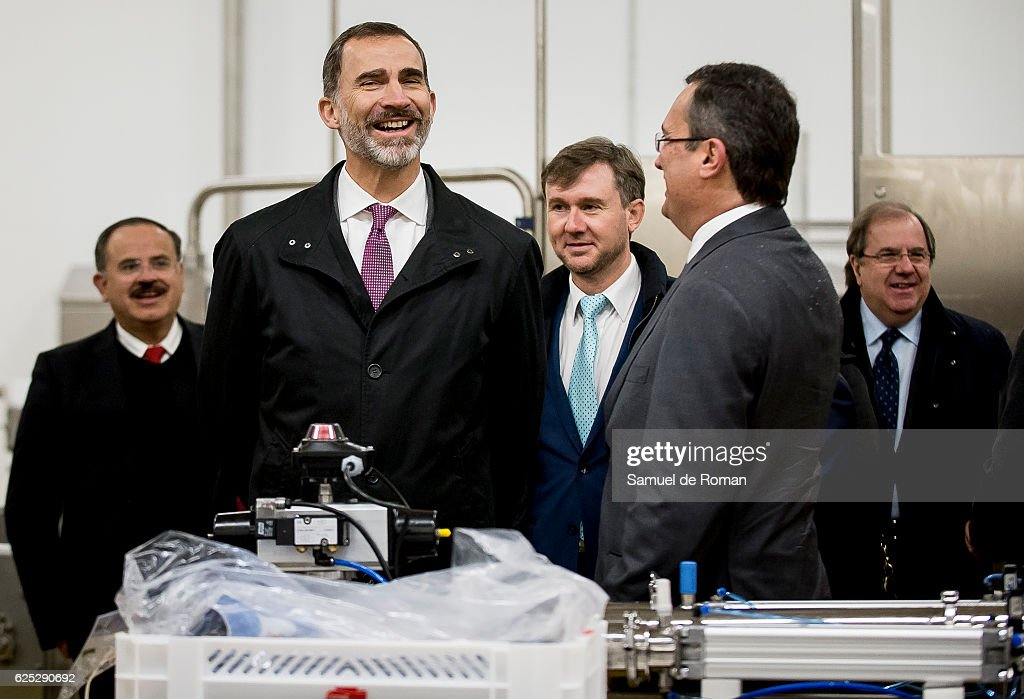King Felipe VI of Spain visits the new factory of Campofrio in Burgos on November 23, 2016 in Burgos, Spain.