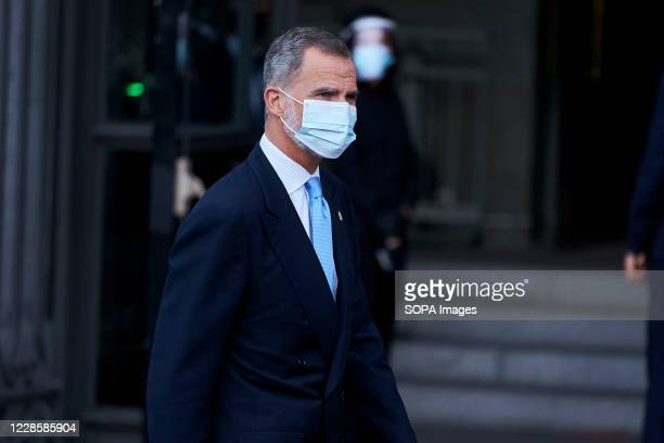 King Felipe VI of Spain wearing a face mask attends the Royal Theatre Season Inauguration at Teatro Real