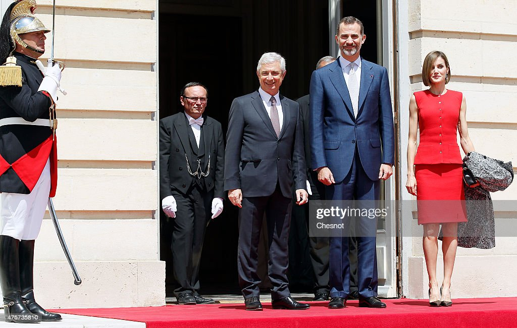 King Felipe VI of Spain with Queen Letizia of Spain and French National Asssemby and Claude Bartolone poses prior to a speech at the French National Assembly on 03 June 2015 in Paris, France. Felipe VI of Spain and Queen Letizia of Spain are on a three-day visit in France. Originally scheduled for March 24, this visit had to be suspended after Germanwings flight 9525 crashed in the French Alps.