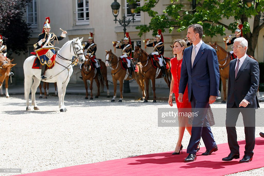 King Felipe VI of Spain with Queen Letizia of Spain and French National Asssemby, Claude Bartolone arrives to deliver a speech at the French National Assembly on 03 June 2015 in Paris, France. Felipe VI of Spain and Queen Letizia of Spain are on a three-day visit in France. Originally scheduled for March 24, this visit had to be suspended after Germanwings flight 9525 crashed in the French Alps.
