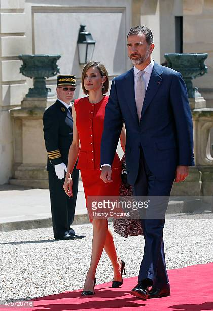 King Felipe VI of Spain with Queen Letizia of Spain arrives to delivers a speech at the French National Assembly on 03 June 2015 in Paris France...