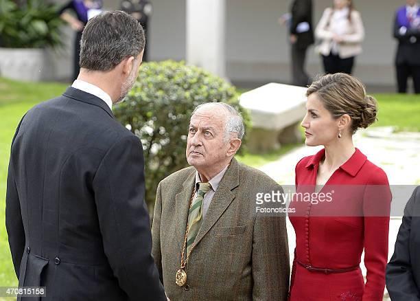 King Felipe VI of Spain writer Juan Goytisolo and Queen Letizia of Spain attend the Cervantes Award Ceremony at Alcala de Henares University on April...