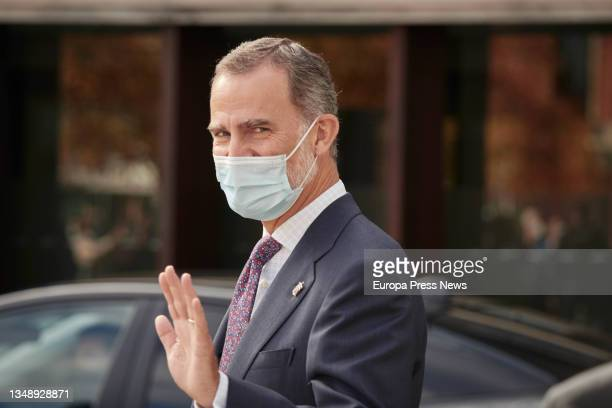 King Felipe VI on his arrival at the opening of the XXIV National Congress of Family Businesses at the Baluarte Conference Centre and Auditorium, on...