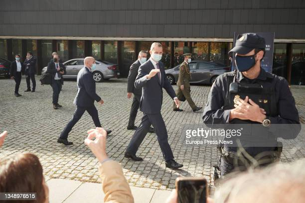 King Felipe VI, on his arrival at the opening of the XXIV National Congress of Family Businesses at the Baluarte Conference Centre and Auditorium, on...