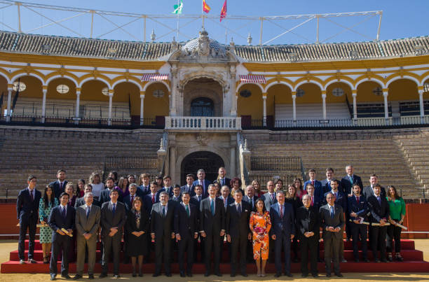 King Felipe VI poses with the winners after presiding the ceremony of the Bullfighting and University Awards of the Real Maestranza de Caballeria in...