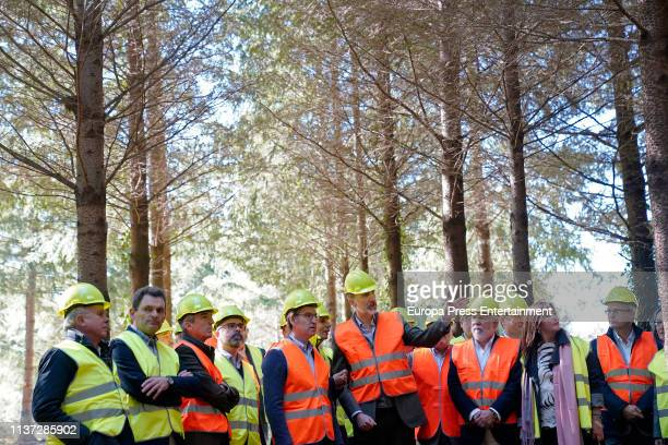 King Felipe VI presides over an act on the International Day Of Forests accompanied by the minister of Agriculture Luis Planas and the president of...