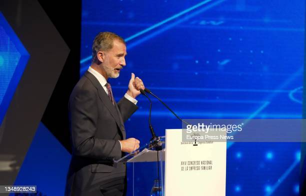King Felipe VI presides over the opening of the XXIV National Congress of Family Businesses at the Baluarte Conference Centre and Auditorium, on 25...