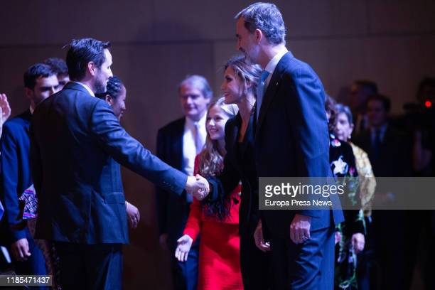 King Felipe VI Queen Letizia and Princess Leonor are seen at their arrival to the 'Princesa de Girona' Foundation Awards and the celebration of its...
