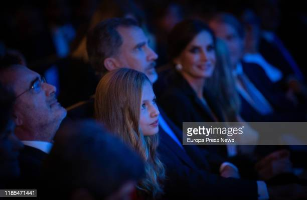 King Felipe VI Queen Letizia and Princess Leonor are seen during the 'Princesa de Girona' Foundation Awards and the celebration of its tenth...