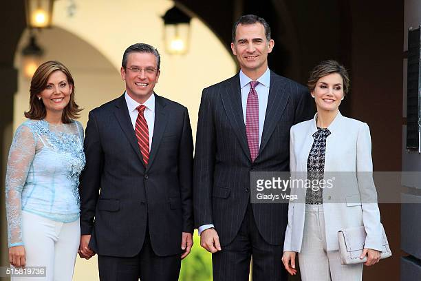 King Felipe VI Queen Letizia of Spain Governor of Puerto Rico Alejandro Garcia Padilla and First Lady Wilma Pastrana as part of their arrival to La...