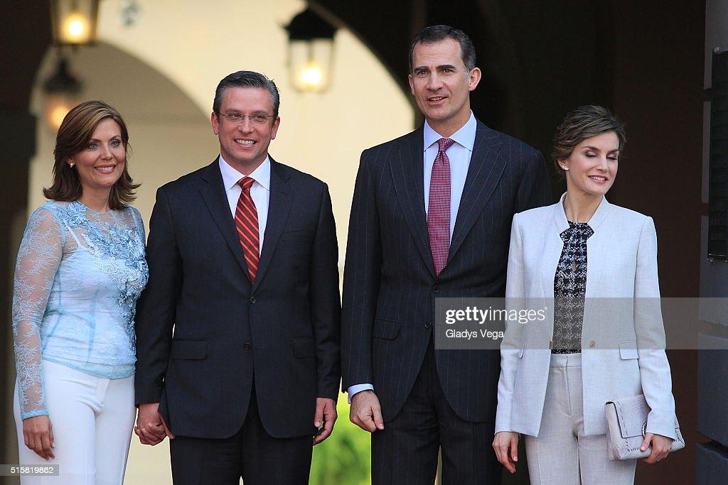King Felipe VI, Queen Letizia of Spain, Governor of Puerto Rico, Alejandro Garcia Padilla and First Lady Wilma Pastrana as part of their arrival to La Fortaleza on March 15, 2016 in San Juan, Puerto Rico.