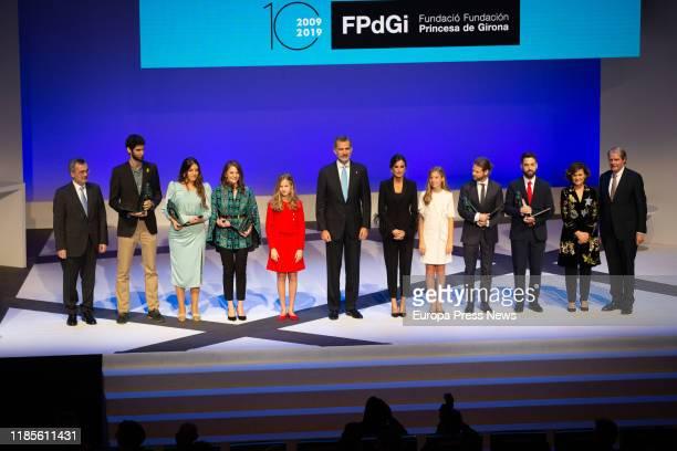King Felipe VI Queen Letizia Princess Leonor and Infanta Sofia pose with the awardees of Princess of Girona Foundation during the celebration of its...
