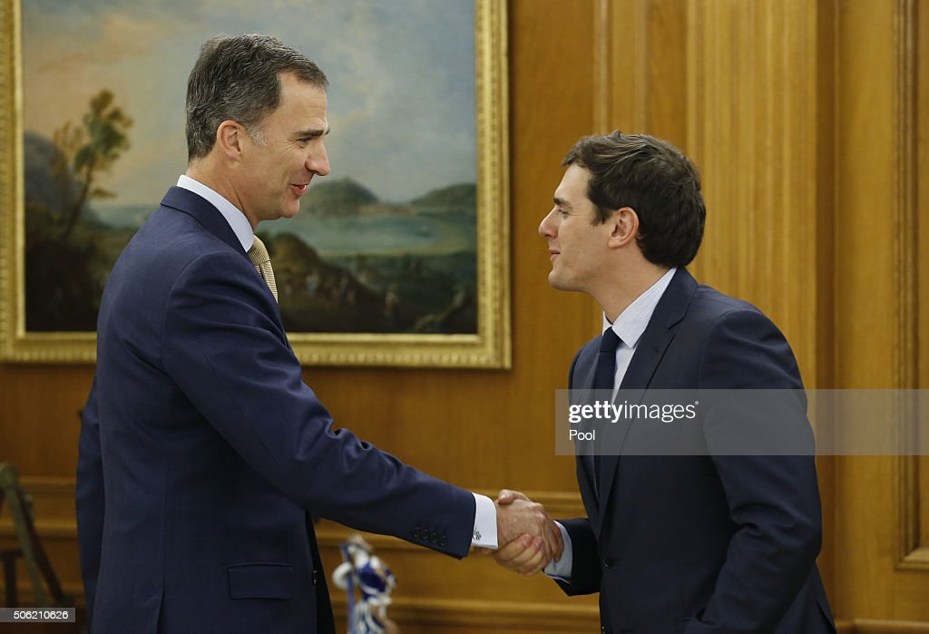 King Felipe VI receives Albert Rivera, President of Citizens, during the round of consultations to propose a candidate for Prime Minister at Zarzuela Palace on January 21, 2016 in Madrid, Spain.