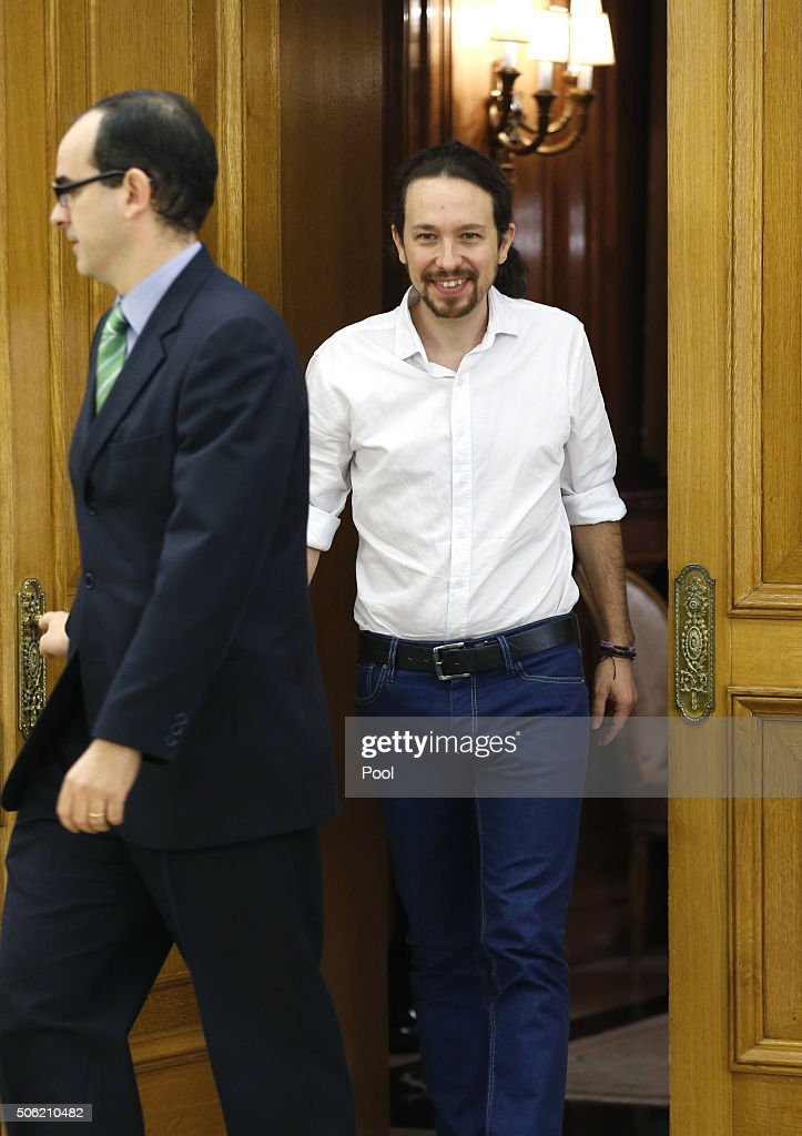 King Felipe VI (not in picture) receives the leader of Podemos, Pablo Iglesias, during the round of consultations to propose a candidate for Prime Minister on January 22, 2016 in Madrid, Spain.
