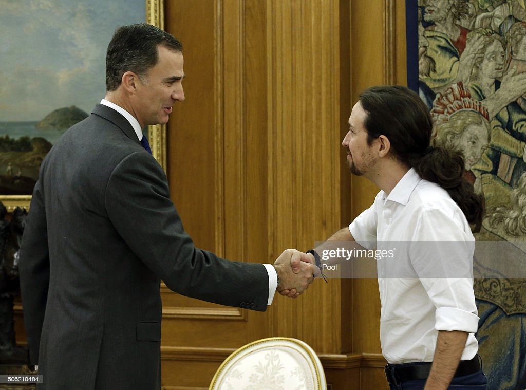 King Felipe VI receives the leader of Podemos, Pablo Iglesias, during the round of consultations to propose a candidate for Prime Minister on January 22, 2016 in Madrid, Spain.