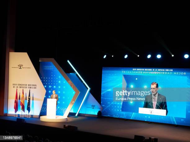 King Felipe VI, speaks at the opening of the XXIV National Congress of Family Businesses at the Baluarte Conference Centre and Auditorium, on 25...