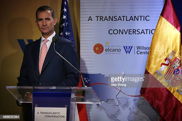 King Felipe VI speaks during a discussion at the Woodrow Wilson Center September 16, 2015 in Washington, DC. The Woodrow Wilson Center held a...