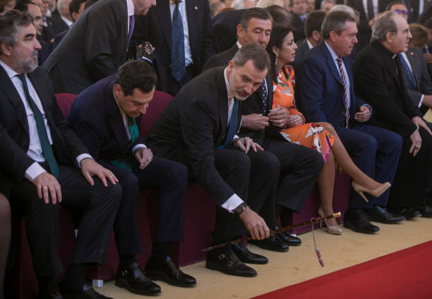 King Felipe VI the president of Andalucia Juanma Moreno and the minister of Culture and Sports Jose Manuel Rodriguez Uribes during the ceremony of...