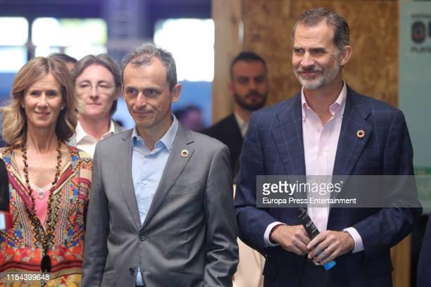 King Felipe VI , the president of COTEC, Cristina Garmendia and Science minister, Pedro Duque , attend the inauguration of '#Imperdible_04' Festival...