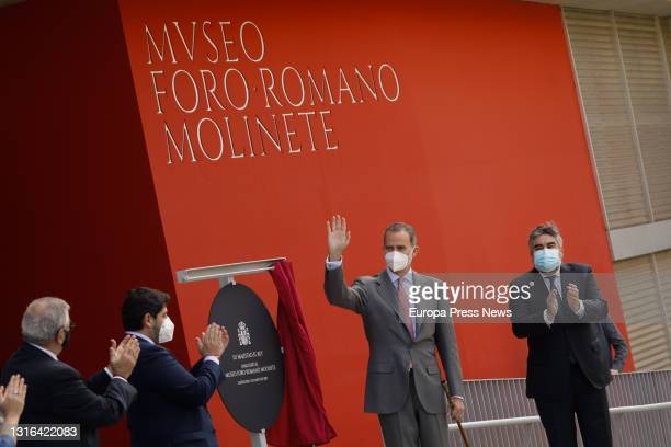 King Felipe VI unveils a commemorative plaque in the presence of the President of Murcia, Fernando Lopez Miras and the Minister of Culture and Sport,...