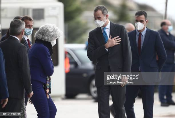 King Felipe VI waves upon his arrival at the inauguration of the new Airbus campus on 15 April 2021 in Getafe, Madrid, Spain. This campus makes the...
