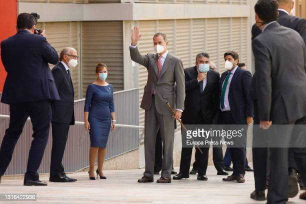 King Felipe VI waves with the Minister of Culture and Sport, Jose Manuel Rodriguez Uribes and the President of Murcia, Fernando Lopez Miras during...