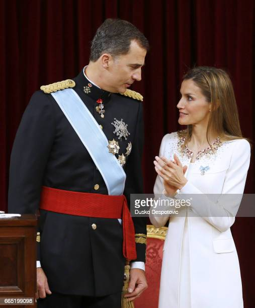 King Felipe VI, with his wife Queen Letizia and daughters Leonor and Sofia, attending the acto of his proclamation as King at the Spanish Parliament