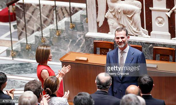 King Felipe VI with Queen Letizia of Spain salutes French deputy after his speech at the French National Assembly on 03 June 2015 in Paris France...