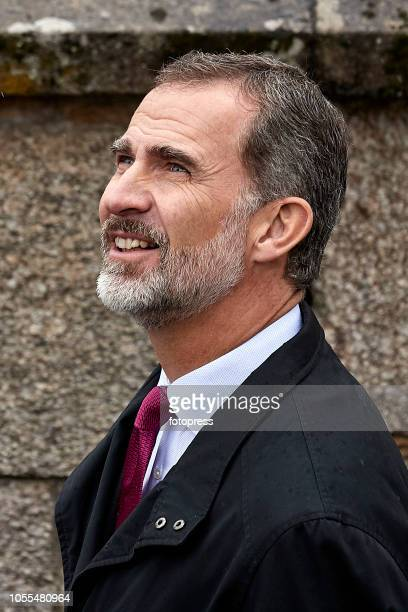 King Felipe visits Santiago de Compostela's Cathedral after the completion of the restauration on October 30 2018 in Santiago de Compostela Spain