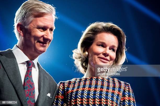 King Filip of Belgium and Queen Mathilde of Belgium visit of Belgian royal couple to Videohouse a media facilities company in Vilvoorde on November...