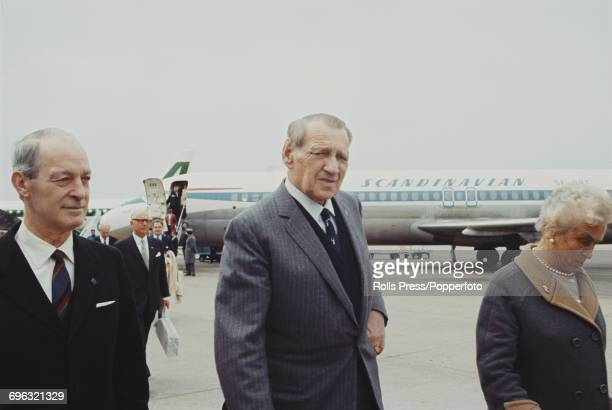 King Frederick IX of Denmark arrives at an airport in Rome for a visit to Italy on 25th March 1970