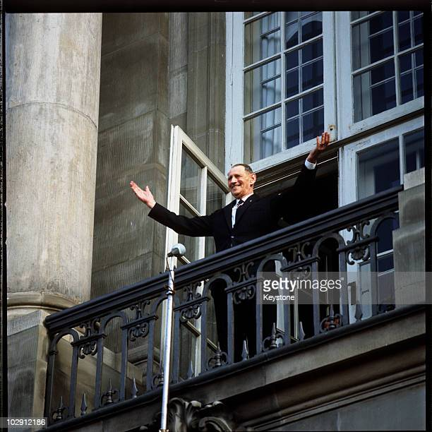 King Frederick IX of Denmark holding out his arms on the balcony of Amalienborg Palace in Copenhagen Denmark 1968 King Frederick was celebrating his...
