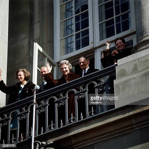 King Frederick IX of Denmark with other members of the Danish Royal Family on the balcony of Amalienborg Palace in Copenhagen Denmark 1968 King...