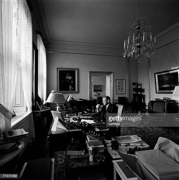 HM King Frederik IX of Denmark in his study at home at Fredensborg Palace on 24th August 1964