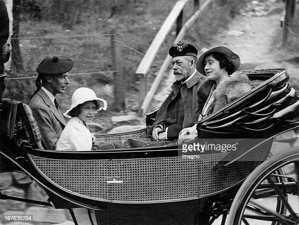 King Georg V. Of England with his wife, Princess Elisabeth and the duke of York Edward on the way to the Crathie Church/Scotland. Photograph. August...