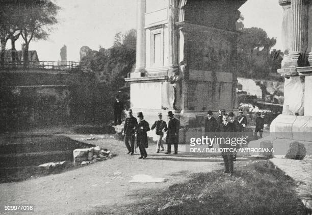 King George I of Greece visiting the Roman Forum, with King Vittorio Emanuele III, Rome, Italy, photograph by Adolfo Croce, from L'Illustrazione...