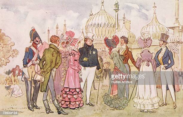 King George IV and guests outside the Royal Pavilion in Brighton circa 1815