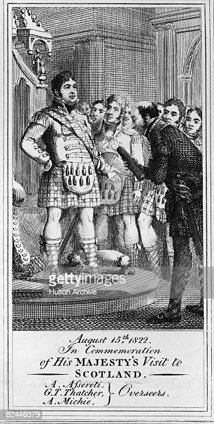 King George IV holds an audience with overseers A Asserti G T Thatcher and A Michie during a royal visit to Scotland 15th August 1822